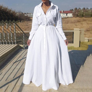 White Big Size Long Shirts Dress High Waist