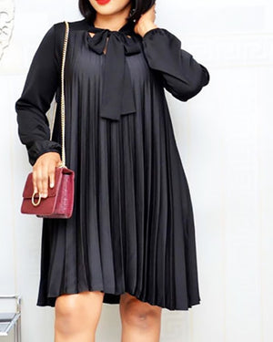Plus Size Pleated Dresses with Bowtie Long Lantern
