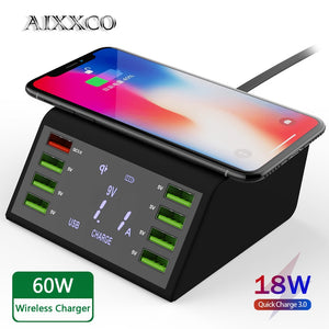 USB Quick Charger 60W 8-Port LED Display