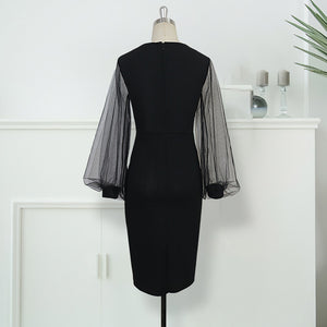 Women Bodycon Dress Sheer Long Lantern Sleeves