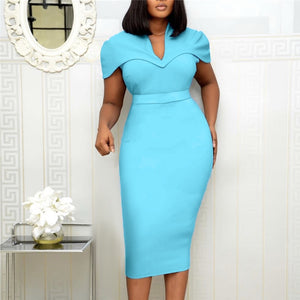 Women Elegant Dress Cape Sleeve Bodycon Pencil Vestidos