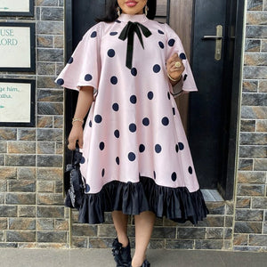 Women Pink Dress Polka Dot with Bowtie Lovely Loose Princess Party Ruffles Patchwork African Female Cute