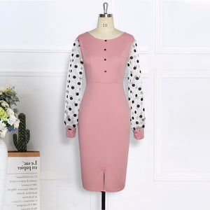 Pink Dress O Neck Transparent Mesh Long Sleeves