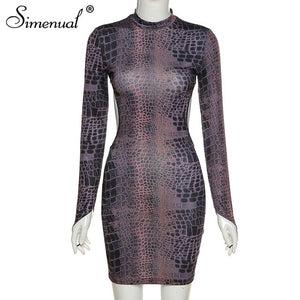 Snake Print Backless Fall 2020 Women Party Dresses Long Sleeve Fashion Skinny Bodycon Clubwear