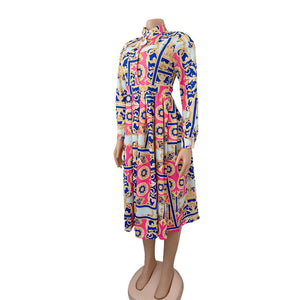 Women Printed A Line Dress Long Sleeves