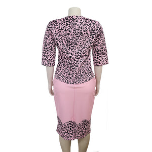 Large Size African Women's Dresses and Coats Two-piece Suits Pink Leopard Bodycon Dresses
