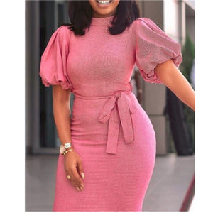 Dress Bodycon Lantern Short Sleeves with Sashes Women Modest Ladies Package Hip Office Lady Elegant