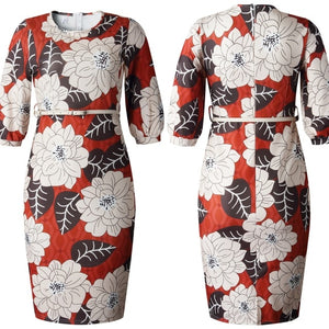Print Dress African Women Elegant Ladies Waist Belt