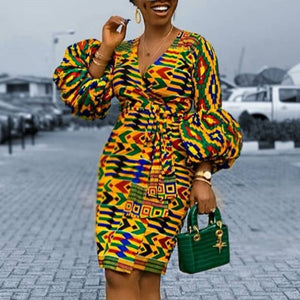 Printed Dress Puff Sleeve African Women