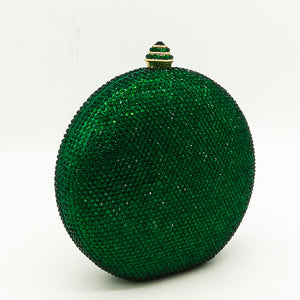 Elegant Women Green Crystal Round Ball Purse