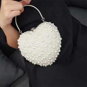 Women Bag Creative Handmade Heart Pearl Evening Bag