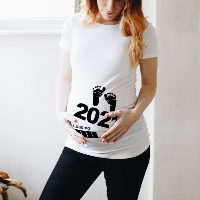 Baby Loading 2021 Women Printed Pregnant T Shirt