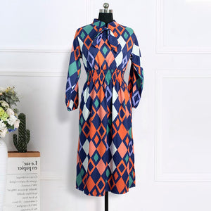Women Printed Dresses Mid-Calf Long Lantern Sleeves