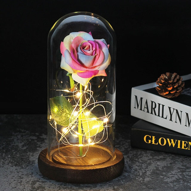 Beauty And The Beast Rose In LED Glass Dome