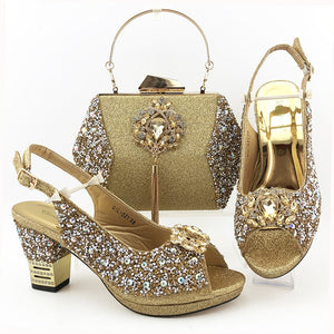 Nigerian Woman Sandals Shoes With Purse Set
