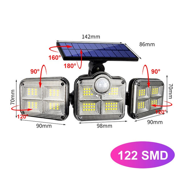 Solar Lights Outdoor 122 LED Solar Motion