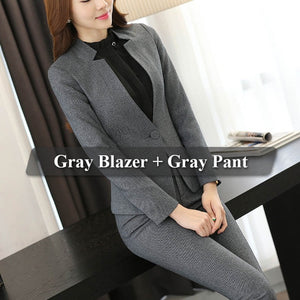 Women Formal Office Blazer Suit Blue Gray Black