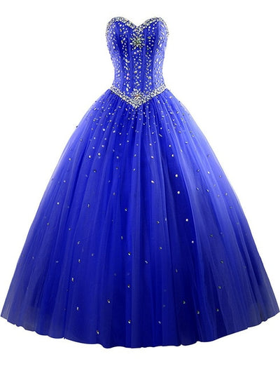 08ed7fdf0 New Royal Blue Quinceanera Dresses Tulle Crystal Beads Debutante Red Ball  Gown Prom Dresses vestido de