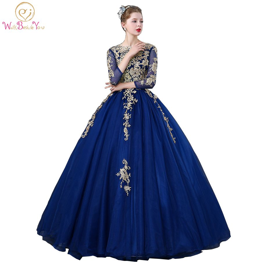 3a4c7660b488c Walk Beside You Royal Blue Quinceanera Dresses Three Quarter Sleeves Lace  Applique Beaded Ball Gown Vestidos