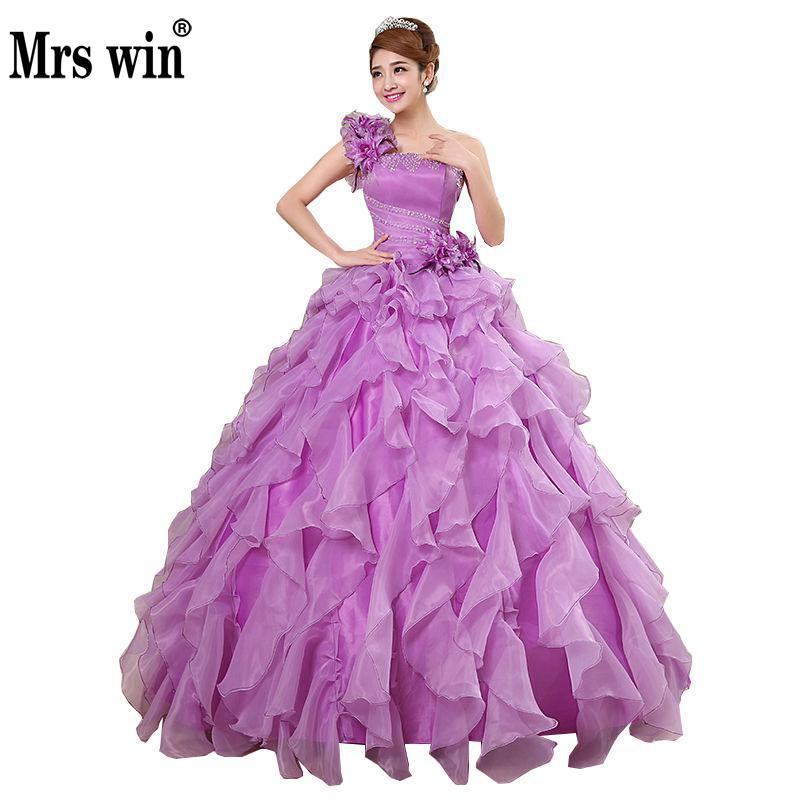 Quinceanera Dresses Sweet Flowers One-shoulder Ball Gown