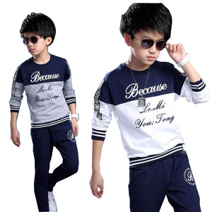 2018 spring autumn teenage boys clothing sets sport casual suit kids clothing fashion Tops + Pants 2pcs children tracksuit 4-14Y