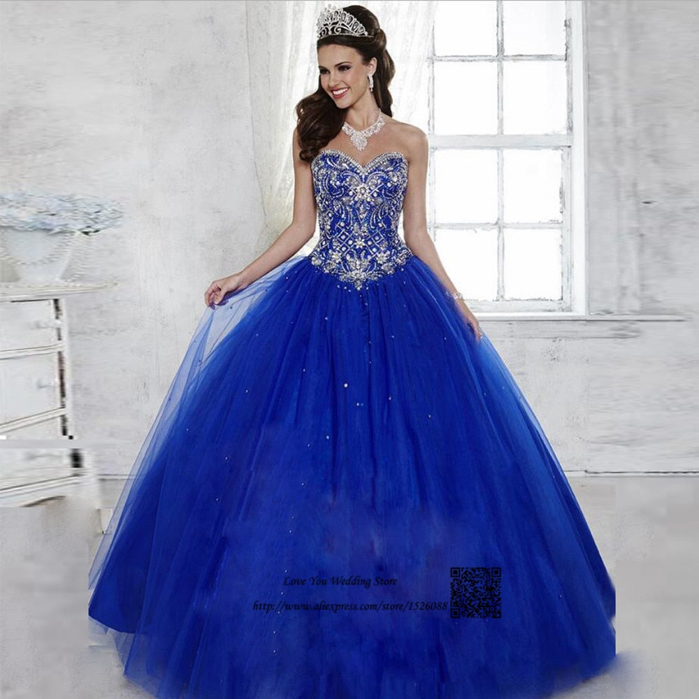bfb62db8a Vestidos de 15 Anos Debutante Royal Blue Ball Gown Cheap Quinceanera  Dresses 2017 Sweet 16 Prom