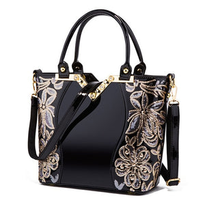 Handbag Womens Embroidered Glossy Shoulder Bag Purse Female Luxury Handbags