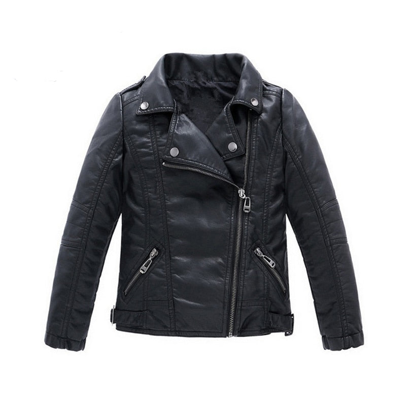 New Baby Kid Boys Girls Warm Black Jacket PU Leather Coat Long Sleeve Outwear