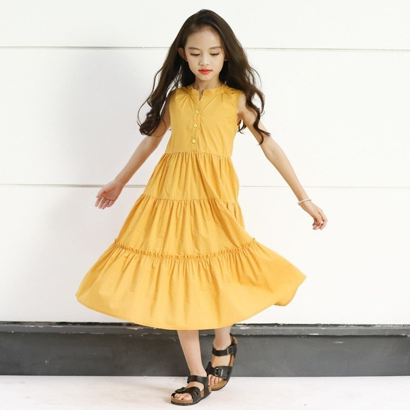 look out for hot sales special discount of Little girls party dresses 2019 maxi long teenage girls summer dresses size  6 and 8 kids clothes 10 12 14 16 years