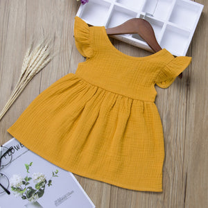 Summer Toddler Baby Girl Fly Sleeve Solid Dress