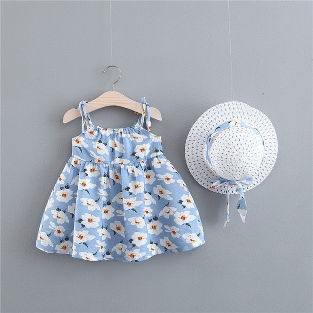 d7caf57ed7a92 BNWIGE Baby Girls Dress With Hat 2pcs Set Cotton Print Floral ...