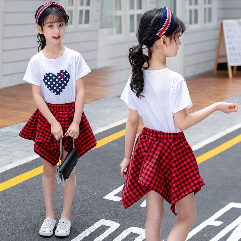 709643e91d Teenage Girls Summer Clothing Sets Kids Clothes White Short Sleeve T-Shirt  & Plaid Skirt