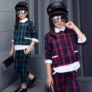 2018 Fashion Autumn Toddler Teenage Girls Outfit Children Clothing Sets Plaid Shirt + Pants 2 Pcs Suit Kids Clothes Set JW8017A