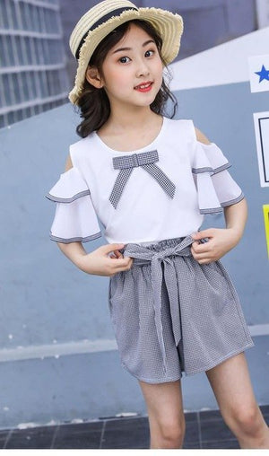2019 Boutique Kids Clothing Teenage Girls Clothes Set Summer 2pcs Big Girls Outfits Off Shoulder Blouses Shirts + Plaid Shorts