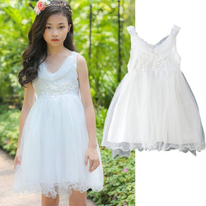 2019 Summer Girl Clothes Kids Dresses For Girls 16 Years 14 12 10 6 Princess Dress Tulle Embriodery White Teenage Party Clothing