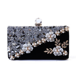 Vintage Velvet Women Evening Bag Fashion Crystal Female Bridal Wedding Handbag