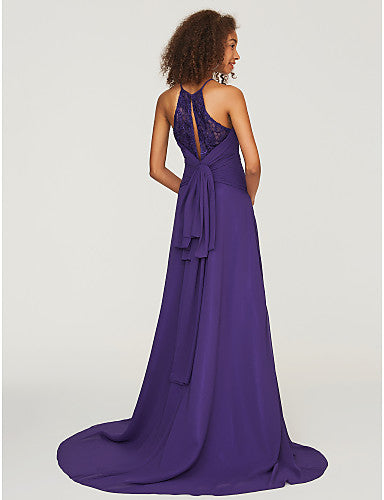 Cool Neck Sweep Bridesmaid Chiffon Dress
