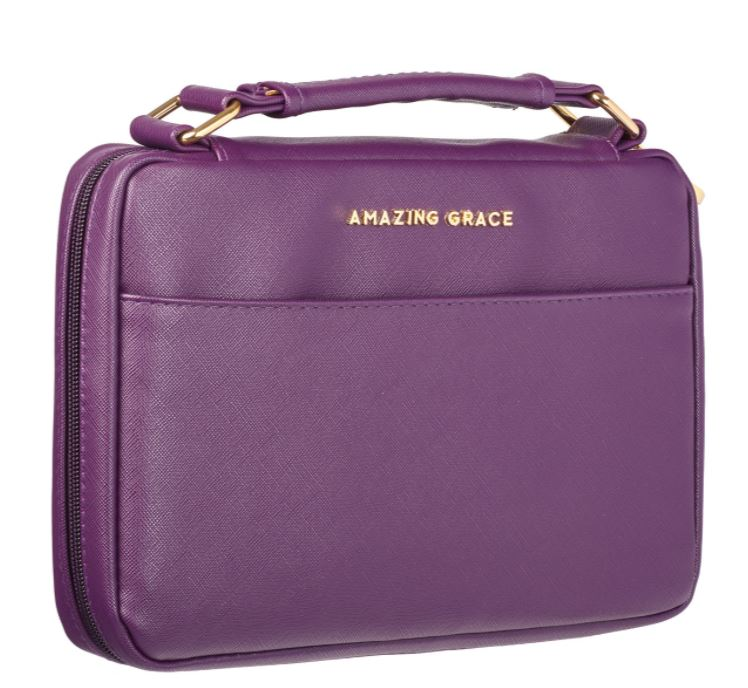 Bible Cover: Amazing Grace LuxLeather - Berry - Medium