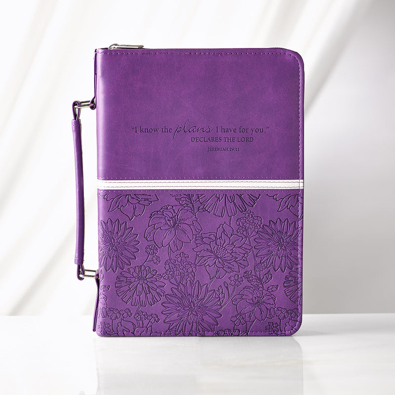 Bible Cover:  Embossed Floral in Purple - Jeremiah 29:11 - Medium