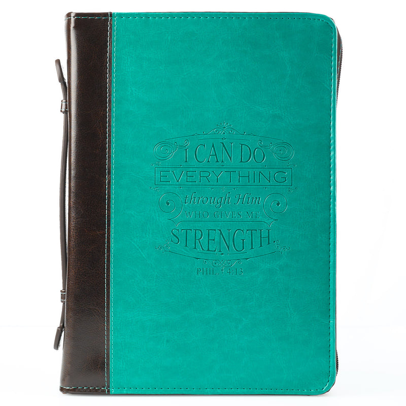 Bible Cover: Brown & Teal w/Scripture Two Tone - Medium