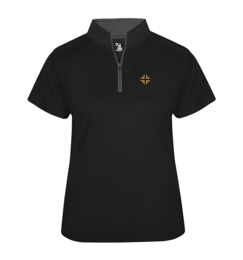 Shirt: Badger 1/4 Zip Female Black DV