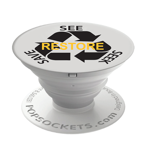 RESTORE-See Seek Save Pop Sockets - White