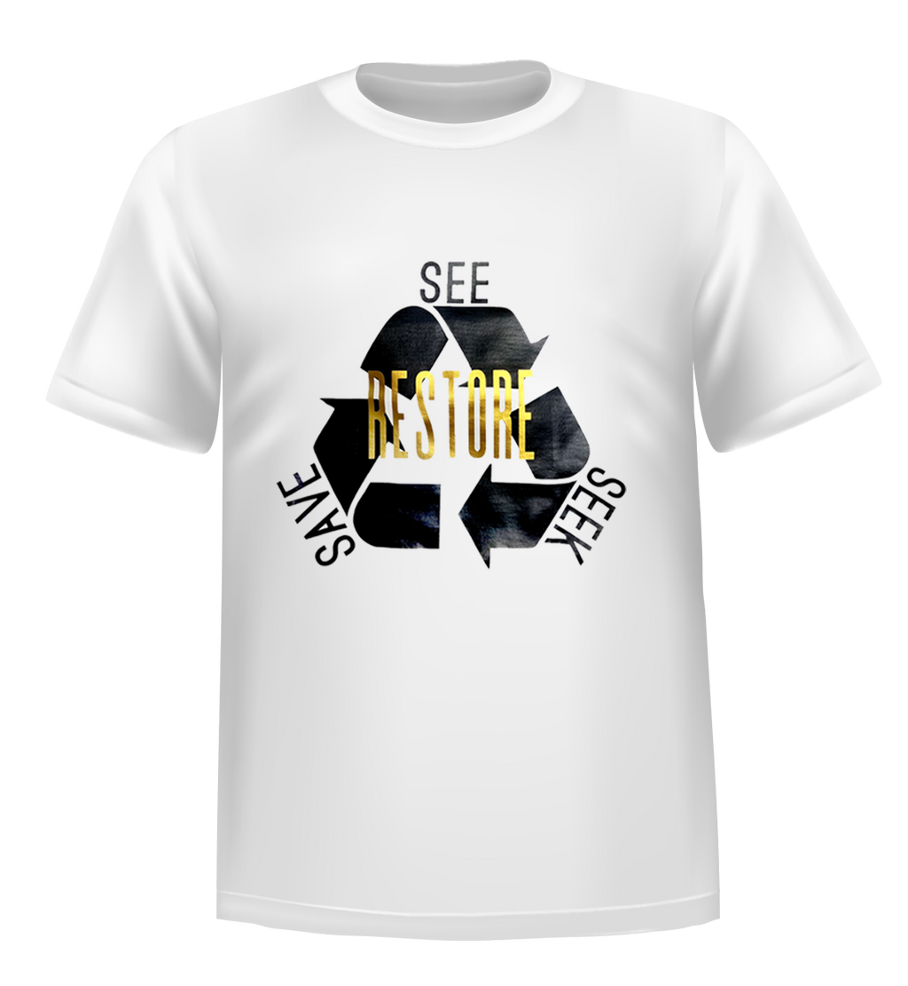 RESTORE-See Seek Save T-SHIRT: White Gold MATTE Youth