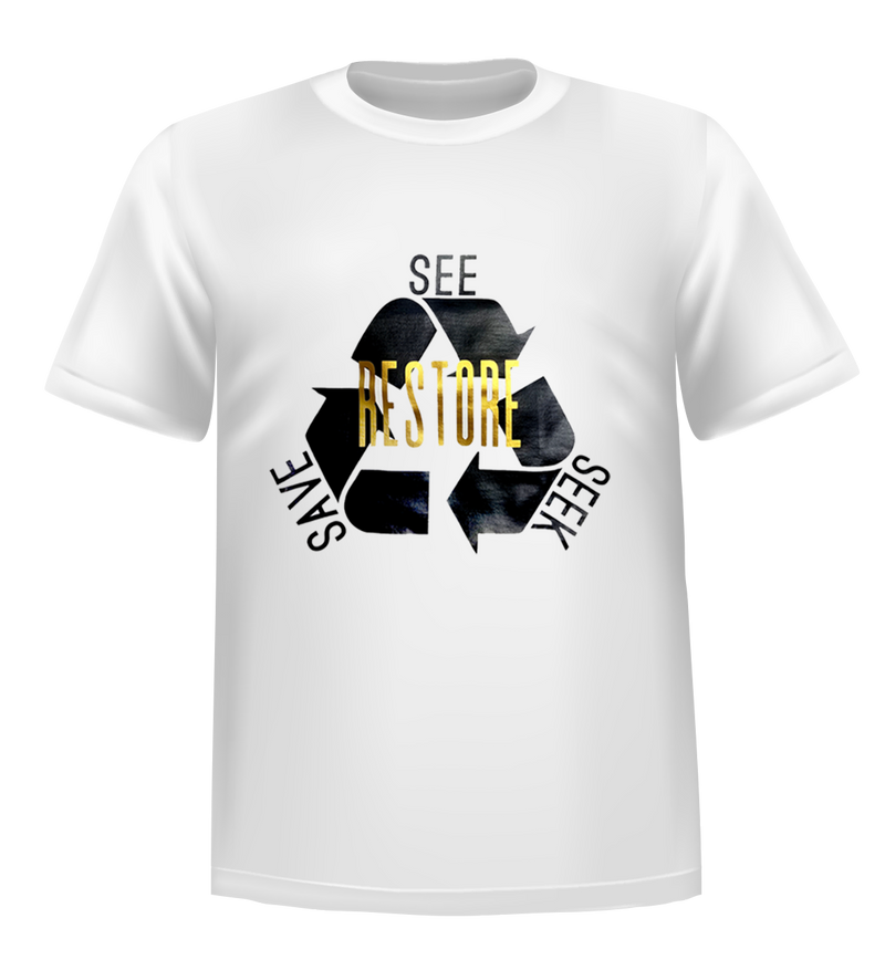RESTORE-See Seek Save T-SHIRT: White Gold MATTE ADULT