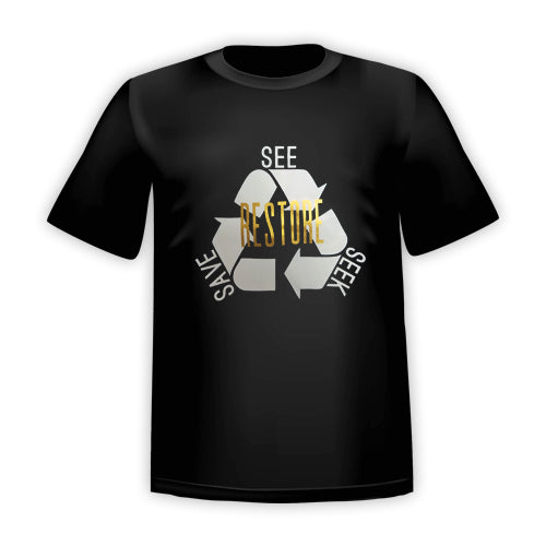 RESTORE-See Seek Save T-SHIRT: Black Gold MATTE ADULT