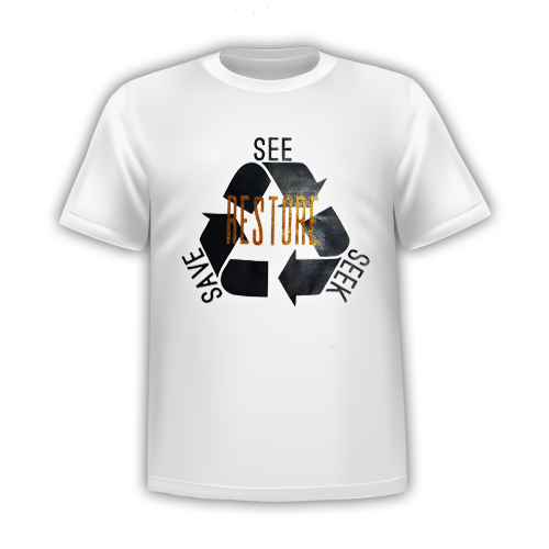 RESTORE-See Seek Save T-SHIRT: White Gold GLITTER ADULT