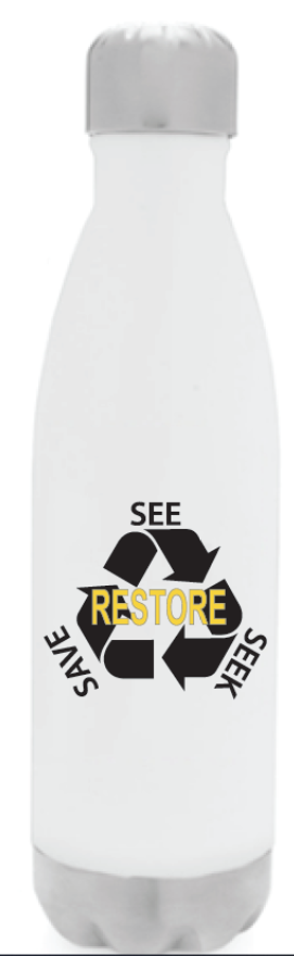 RESTORE-See Seek Save Stainless Steel Bottle - White