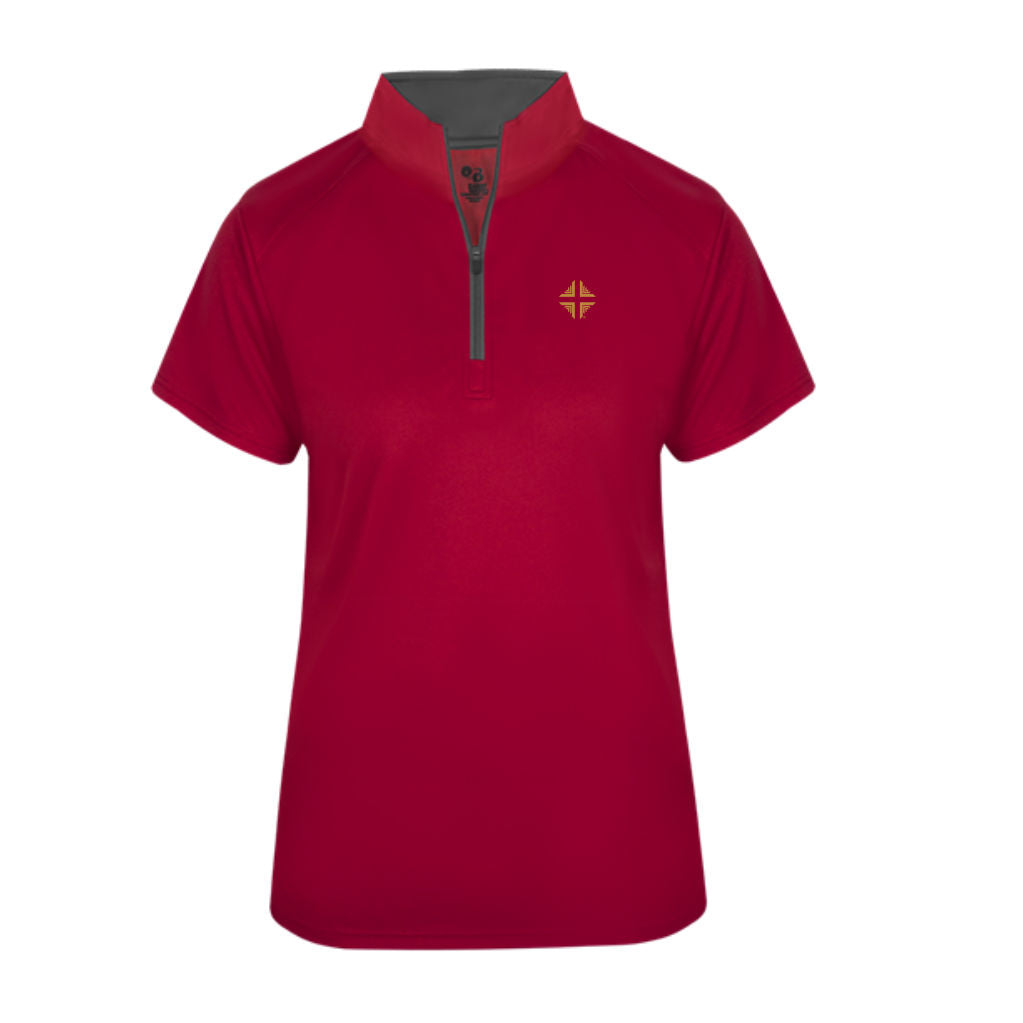 Shirt: Badger 1/4 Zip Female Red DV