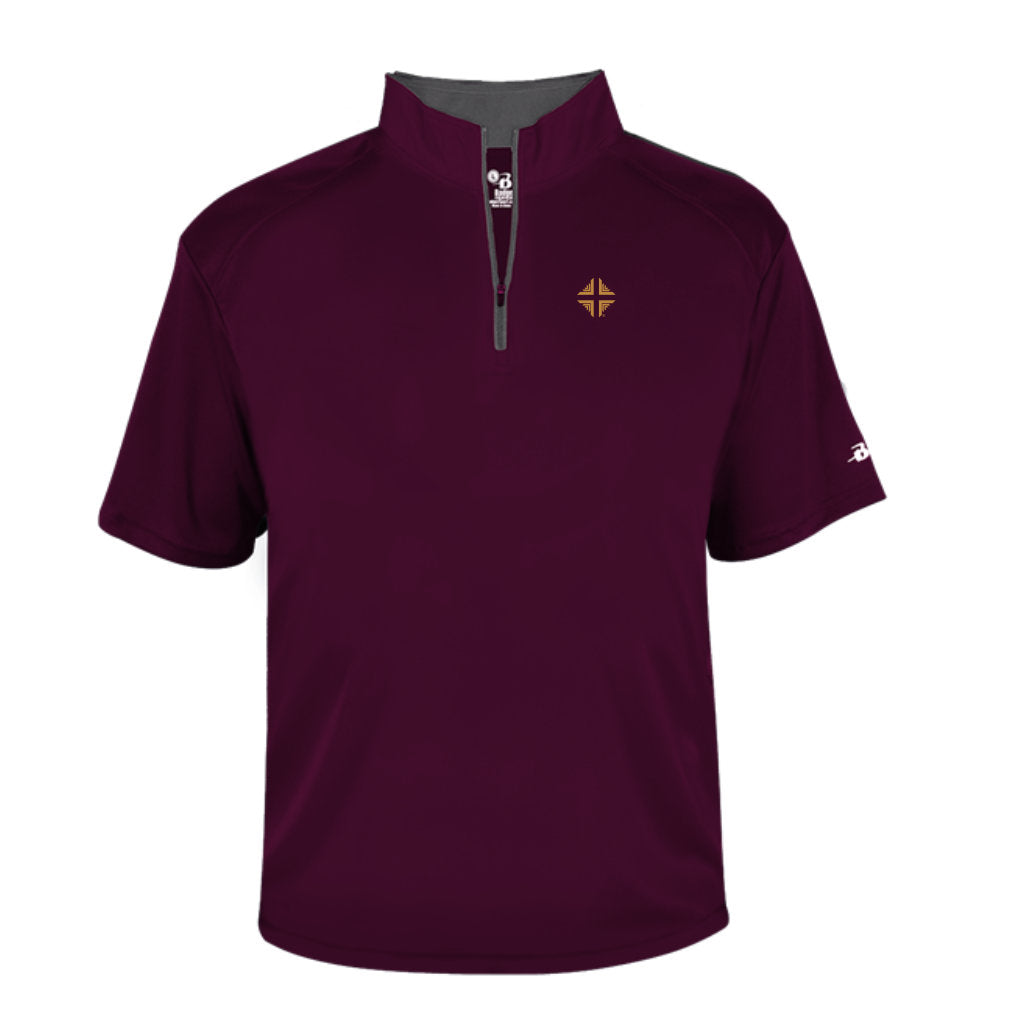 Shirt: Badger 1/4 Zip Male Burgundy DV