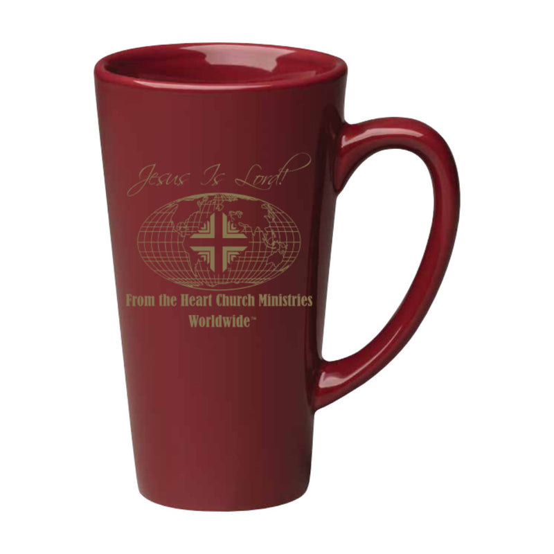 Mug: 16 Oz Burgundy Tall with Gold Logo WW